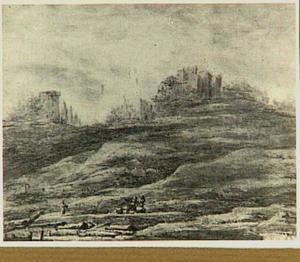 Heuvellandschap met ruïnes en houthakkers