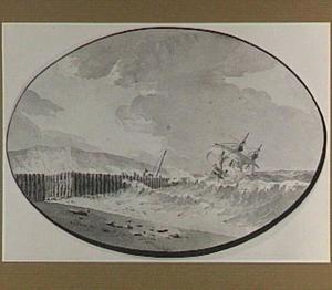 Zeilschip in de branding voor een kust
