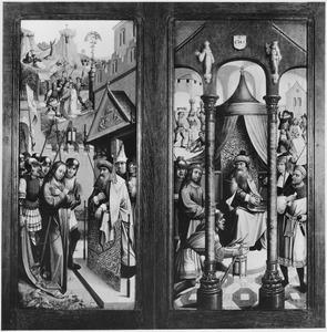 Christus voor Pilatus, in de achtergrond de gevangenneming (links), Pilatus wast zijn handen in onschuld, in de achtergrond de geseling en de doornenkroning (rechts)