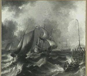 Schepen naderen een haven in stormachtig weer
