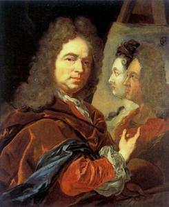 Zelfportret met het dubbelportret van de keurvorstenpaar Johann Wilhelm en  Anna Maria Luisa