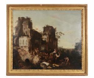 Italianiserend landschap met een karavaan temidden van ruïnes