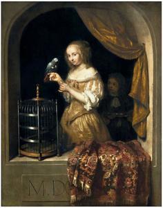 Jonge vrouw in venster, een papegaai voerend