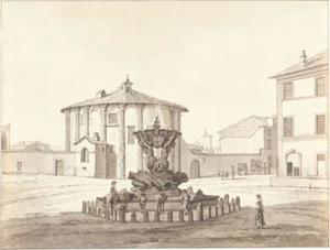 Rome, Piazza della Bocca della Verità, de Fontana dei Tritoni en Santa Maria del Sole (tempel van Hercules Victor)