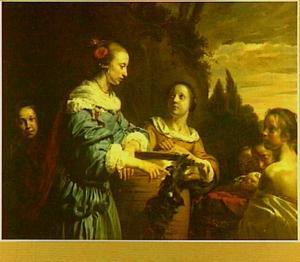 Portretgroep van een moeder met kinderen, voorgesteld als de dochter van de Farao met Mozes in het biezen mandje (Exodus 2)