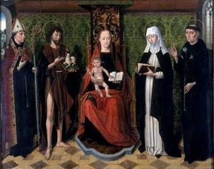Tronende Maria met kind  en vier heiligen