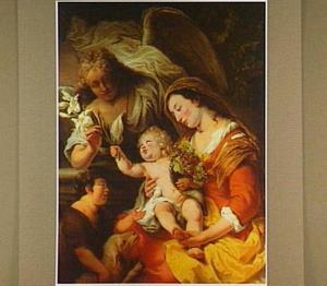 Maria met Christus en Johannes de Doper als kinderen met een engel