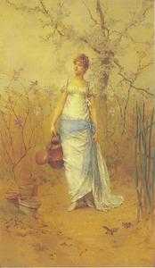 Jonge dame tuiniert