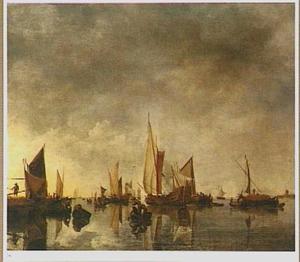 Schepen voor de kust, rechts een molen