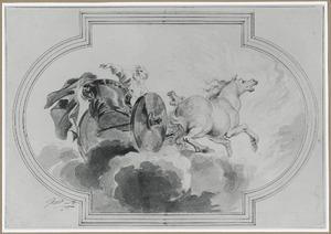 De profeet Elia wordt ten hemel opgenomen door een strijdwagen met paarden van vuur in een wervelwind. Zijn mantel valt naar beneden  (2 Koningen 2:11-13)