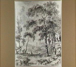 Arcadisch landschap met standbeeld van Apollo en Daphne