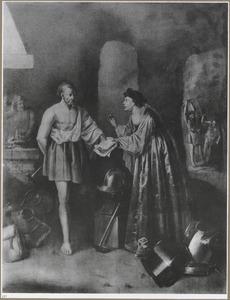 De godin Thetis bestelt de wapens voor Achilles bij Vulcanus