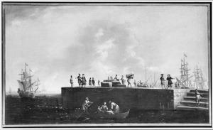 Kooplui en sjouwers op de kade van een zuidelijke havenstad