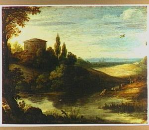 Zuidelijk landschap met ronde toren en een herder met zijn kudde