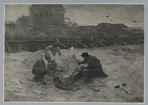 Vilders en een dood paard op het strand van Scheveningen