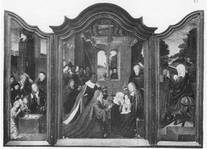 De geboorte met de aanbidding van de herders (links), de aanbidding van de Wijzen (midden), de vlucht naar Egypte (rechts)