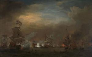 Nachtelijk gevecht tussen Cornelis Tromp op 'De Gouden Leeuw' en Sir Edward Spragg op de 'Royal Prince' tijdens de Zeeslag bij Kijkduin, 21 augustus 1673: episode uit de Derde Engelse Zeeoorlog (1672-1674)