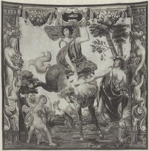 Ruiter op een bokkend paard geleid door Mercurius