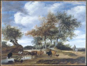 Landschap met veedrijver en koeien op een ondergelopen weg