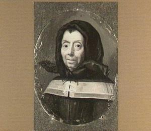 Portretminiatuur van een oude vrouw met hoofddoek