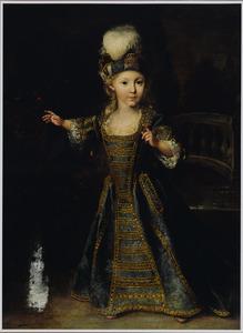 Portret van een jongen, staand ten voeten uit, in een blauw kostuum met goudborduursel en een baret met pluim, met een papegaai