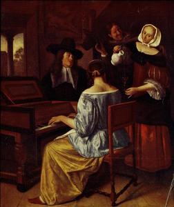 Vrolijk gezelschap met klavecimbel spelende vrouw
