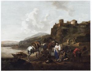 Zuidelijk landschap met rustende reizigers en pakezels bij een aanlegplaats