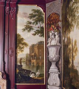 Geïdealiseerd landschap met palaisachtig bouwwerk en twee zwanen op de voorgrond