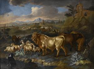 Weids landschap met stieren, schapen en geiten