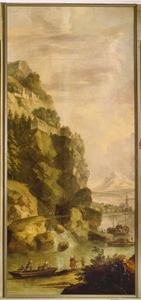Boot met vissers voor steile rotswand