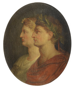 Dubbelportret van een Romeinse keizer en keizerin