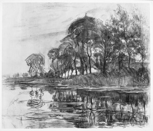 Bend in the Gein with poplars, three isolated