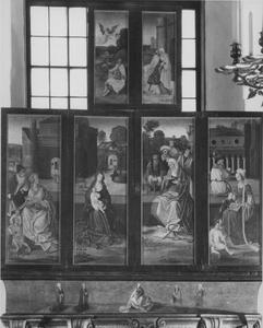 De Heilige Maagschap, de aankondiging van de geboorte van Maria aan Joachim (buitenzijde linkerluik); De Heilige Maagschap, de ontmoeting van Anna en Joachim bij de Gouden Poort (buitenzijde rechterluik)