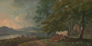 Landschap met vee in de ochtend