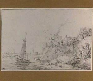 Zeilboot bij een stadsmuur