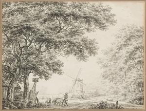 Boomrijk landschap met varkenshoeder en molen, bij Heemskerk