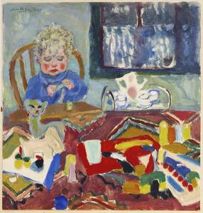 Victor aan tafel met speelgoed