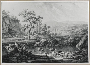 Heuvellandschap met rustende herder en vee bij een drenkplaats