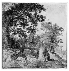 Boslandschap met tekenaar
