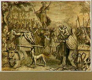Vercingetorix door zijn volk op een schild verheven