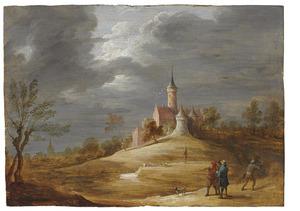 Figuren in een landschap met een kasteel op de achtergrond