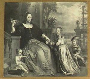 Portret van Anna Stas (1616-1706), echtgenote van Pieter Schuyl van Walhoorn, met haar kinderen: Anna, Willem en Suzanna