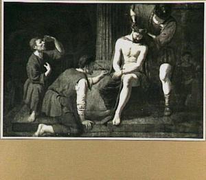 Soldaten plaatsen de doornenkroon op het hoofd van Christus [Matteus 27:27-31; Markus 15:16-20; Johannes 19:2-3]