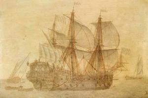 Het Nederlandse  VOC schip De Concordia in kalm water, andere zeilschepen in de achtergrond