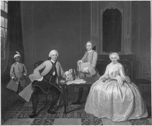 Dubbelportret van Gijsbert Antwerpen Verbrugge van Freyhoff (1717-1777) en Maria Hooft (1719-1811), met bedienden