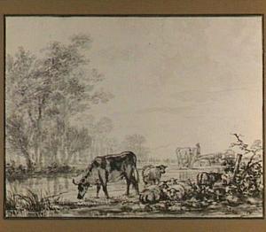 Riviergezicht met koeien, schapen en een herder