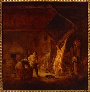 Stalinterieur met een boerenpaar bij een opgespalkt varken in de achtergrond figuren bij de haard