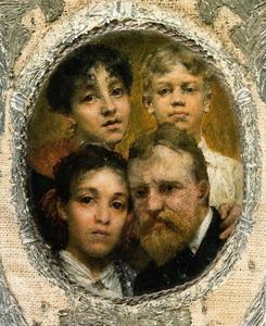 Portret van de schilder met zijn dochters Lawrence (1865-1940) en Anna (1867-1943) Alma Tadema en zijn neef Pieter Rodeck