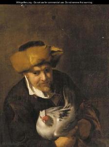 Portret van een man met een kip