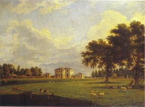 Gezicht op het huis Painshill van Benjamin Bond Hopkins Esq., gezien vanuit het park
